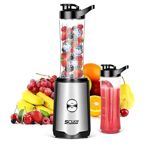 SCIJOY Mixer Smoothie Maker, Standmixer mit 2 BPA-Freien 600ml Tritan Mixbechern, Einfach zu Säubern 350W Shake Mixer Elektrisch Blender für Milchshakes und Smoothies