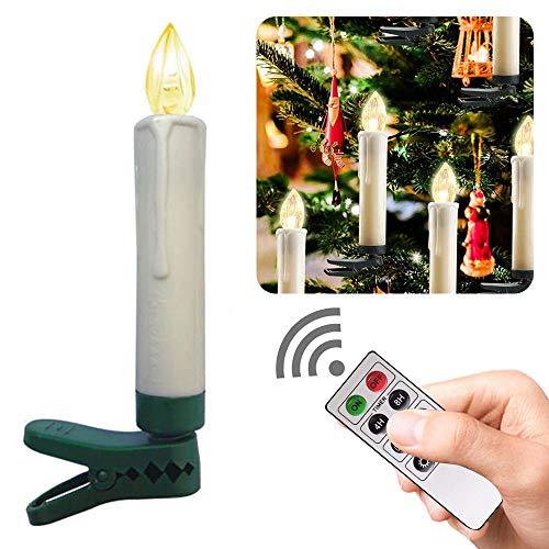 Boomersun10 LED Weihnachtsbaumkerzen Kabellos Warmweiß Fernbedienung Timerfunktion Flackern Dimmbar KerzenWeihnachtskerzen Christbaumschmuck