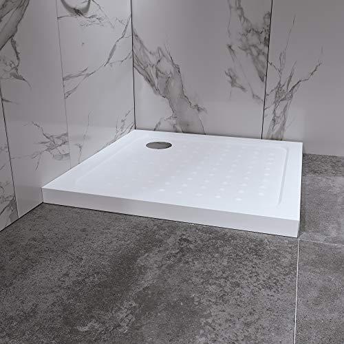 Duschwanne Duschtasse 90x90 cm Quadratisch Acryl inkl. Ablaufgarnitur (Syphon) Weiss - Duschwanne mit Gefälle