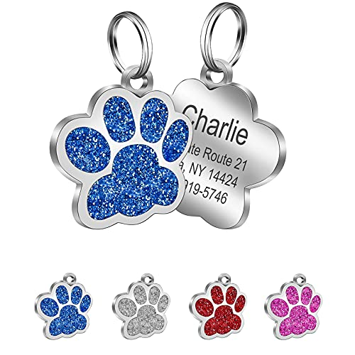 xuanbeauty Personalisierte Hundemarken, Katzenmarken, Benutzerdefinierte Haustier ID Tags, 3 Größe, 4 Zeilen Gravierter Text, Leicht zu Lesen, Funkelnde Pfotendruck Haustiermarke