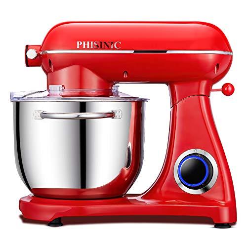 PHISINIC Küchenmaschine Knetmaschine (1800 W) leistungsstark, leise und multifunktional, Metallgehäuse inkl. 6,5 L Edelstahlschüssel, 3-Rührwerkzeuge, Spritzschutz, Teigschaber und Eiertrenner, Rot