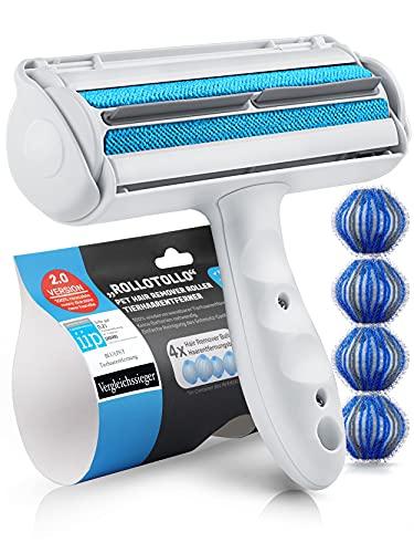 Bluepet® RolloTollo 2.0 Selbstreinigende Fusselrolle - Tierhaarentferner für Haustierhaar, Entfernung Tierhaar von Sofa, Bett & Möbel, Fusselbürste Hundehaare & Katzenhaare (5 Stück (1er Pack))