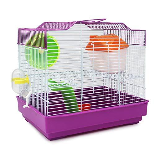 BPS Hamsterkäfig Chalet Haus für Hamster mit Futternapf, Tränke, Rad, Haus, Spezialfarbe, zufällige Farbe, 33 x 23 x 30 cm BPS-1175