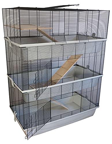 PETGARD Mäuse- und Hamsterkäfig, mehrstöckiges und großes XXL-Nagerhaus mit 3 Ebenen und 3 Holzleitern, 98x52x129 cm, Carlos Sky