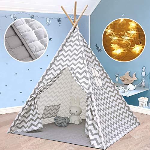 Tiny Land Tipi Spielzelt für Kinder Kinderzimmer mit Gepolsterter Decke & Lichterkette- Drinnen Baumwolle Segeltuch Kinderzelt Indianerzelt (Grauer Chevron 165cm Hoch )