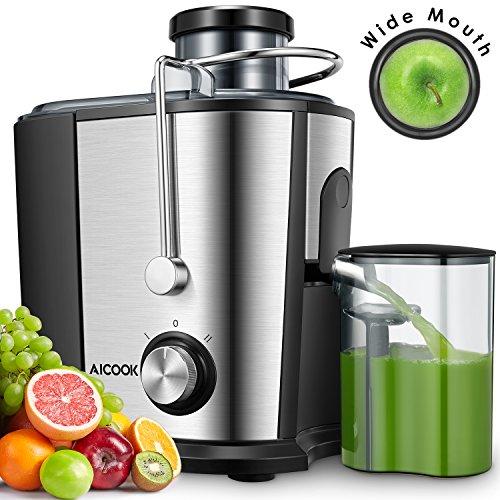 Entsafter Gemüse und Obst, AICOOK 65MM Zentrifugal Entsafter Maschine, Dual-Speed Edelstahl Saftpresse Juicer mit Anti-Tropf-Funktion, Geräuschloser Motor, Einfach zu Säubern, BPA-Frei