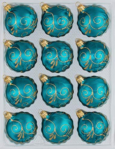 12 TLG. Glas-Weihnachtskugeln Set in 'Ice Petrol-Türkis Goldene Ornamente' - Christbaumkugeln - Weihnachtsschmuck-Christbaumschmuck