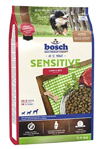 bosch HPC Sensitive Lamm & Reis   Hundetockenfutter für ernährungssensible Hunde aller Rassen, 1 x 3 kg