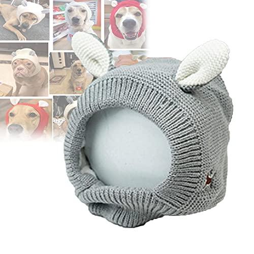 CUOGUO Ruhige Ohren FüR Hunde StrickmüTze, HundeohrschüTzer LäRmschutz, Welpen StrickmüTze Hasenohren Design, Haustierhauben FüR Hunde Mit Angst, Hundeohrenpflege Schutz Ohrenwickel Grau
