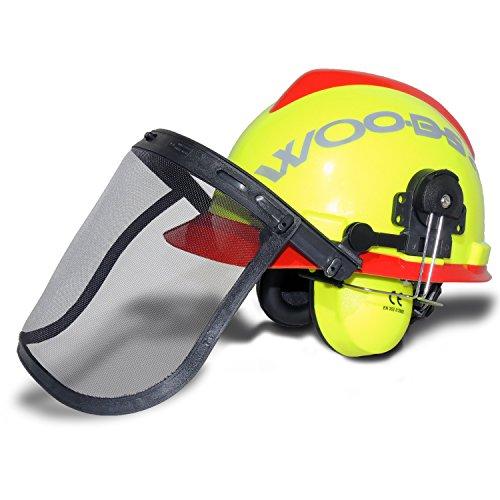 Forsthelm WOODSafe Gelb/Rot inklusive Gehörschutz, Klappvisier, Nackenschutz - Schutzhelm für Waldarbeiter nach EN 397
