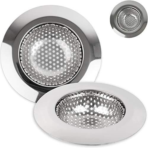 Abfluss Sieb, 3er Set, Ø 115 mm, geeignet für Ø 60 - 70 mm Abflüsse, Spülbecken Sieb mit optimierter Passform, Rost-frei, Abflusssieb Küchenspüle, für Waschbecken, Haarsieb Dusche, Sieb Badewanne