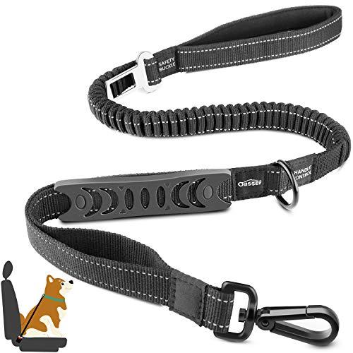 Oasser Hundesicherheitsgurt für Autos mit leistungsstarkem Bungee-Design 4-in-1 Ruckdämpfung Hundegurt mit Sicherheitsschnalle