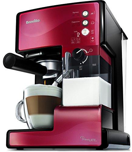 Breville PrimaLatte Kaffee- und Espressomaschine   italienische Pumpe mit 15 Bar   fr Kaffeepulver oder Pads geeignet   Integrierter automatischer Milchschäumer   Metallic/Rot   VCF046X