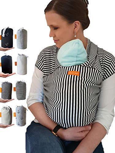 Kleiner Held® Babytragetuch hochwertiges elastisches Baby Tragetuch Babytrage für Früh- und Neugeborene Babys ab Geburt bis 15 kg inkl. Wickelanleitung und Aufbewahrungstasche - Farbe Streifen