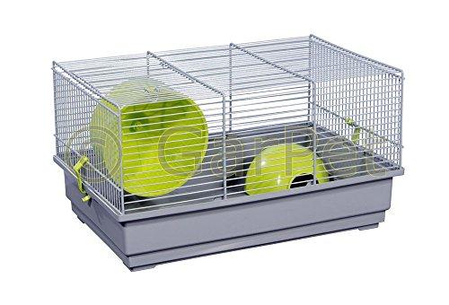 GarPet Hamsterkäfig Nagerkäfig Mäusekäfig mit Haus Laufrad Käfig Farbwahl (grau)