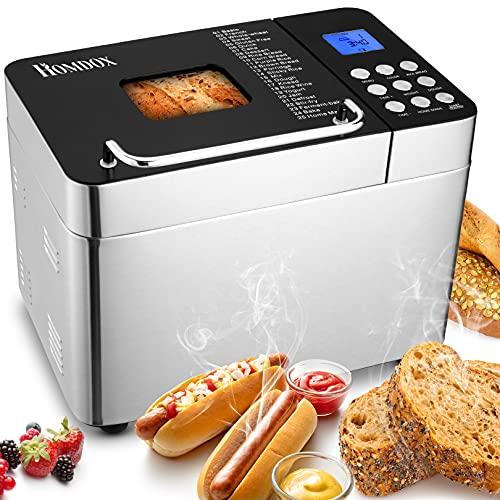 Brotbackautomat ,Edelstahl,600 W,mit 25 Backprogramme,3 Brotgrößen (500 g / 750 g/100 g) ,3 Backfarben , Sichtfenster,Timer und Warmhaltefunktion.BPA-frei,GS Geprüfte Sicherheit
