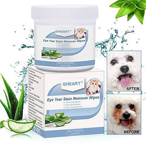GHEART Augen-Reinigungspads für Hunde & Katzen, 100 Stück Pflegetücher Hund, Feuchttücher, Haustier-reinigungstücher, Fellpflegetücher, Tränensteinentferner Pads, Natürliche & Mild