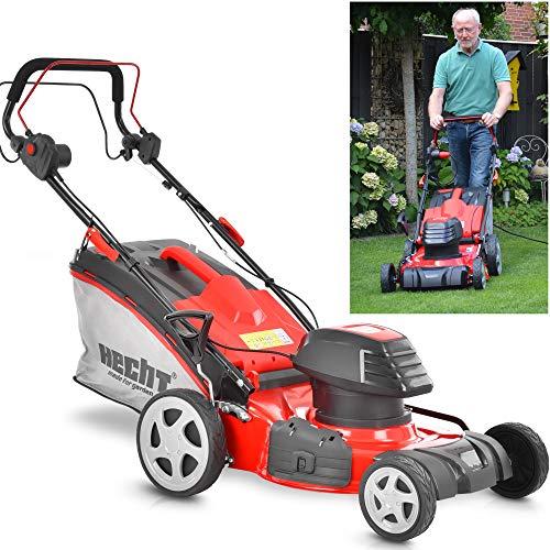 HECHT 5-IN-1 Elektro Rasenmäher mit 1.800 Watt Motor, 46 cm Schnittbreite, Radantrieb, Mulchfunktion, zentrale 7-fach Schnitthöheneinstellung und 50 Liter Fangkorb für einen schön gepflegten Rasen