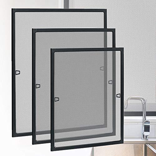 HENGMEI Fliegengitter Fenster Insektenschutz Insektenschutzrahmen Spannrahmen mückengitter gitter mit Aluminium Rahmen ohne Bohren für Fenster (120x140cm, Fenster-Anthrazit)