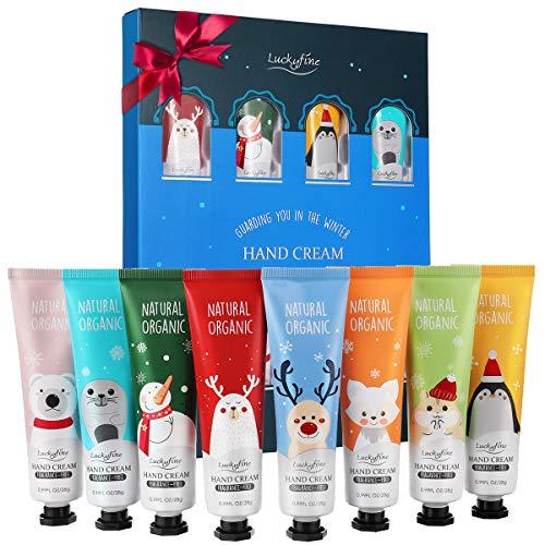 Handcremes Set, Luckyfine Oster Geschenkset 8 Pcs Parfümierte Hand Cream feuchtigkeitsspendend für raue, strapazierte, rissige Hände, Feuchtigkeitscreme Pflegecreme, Unisex