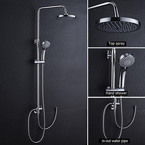 WOOHSE Duschsystem Duschsäule ohne Wasserhahn Dusche Regendusche Duscharmatur inkl Duschkopf und Handbrause, Duschset mit Höhenverstellbar ca. 79 bis 120cm(bei Installation), chrom