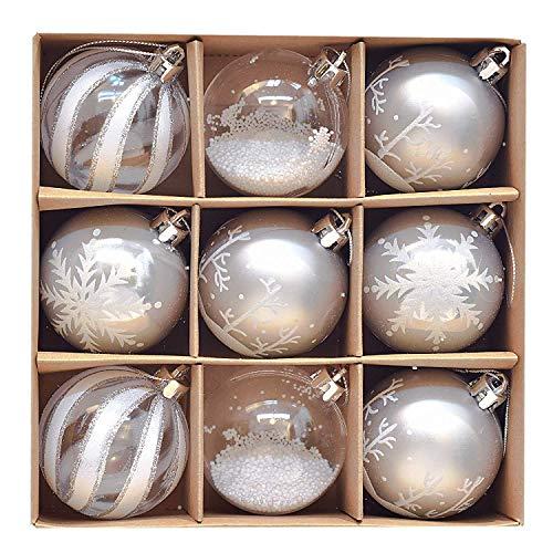 Victor's Workshop Weihnachtskugeln 9tlg.6cm Kunststoff Christbaumkugeln Set Weihnachtsdeko Weihnachtsbaum Dekoration Plastik Weihnachten Deko Gefrorener Winter Thema Silbern Weiß MEHRWEGVERPACKUNG