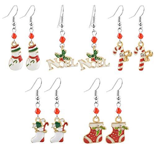 MJARTORIA Damen Mädchen Weihnachtsschmuck Ohrringe Ohrstecker Silber Gold Farbe mit Rot Grün Beads Anhänger Charms 5/6 Paare Set (Rot-5er)