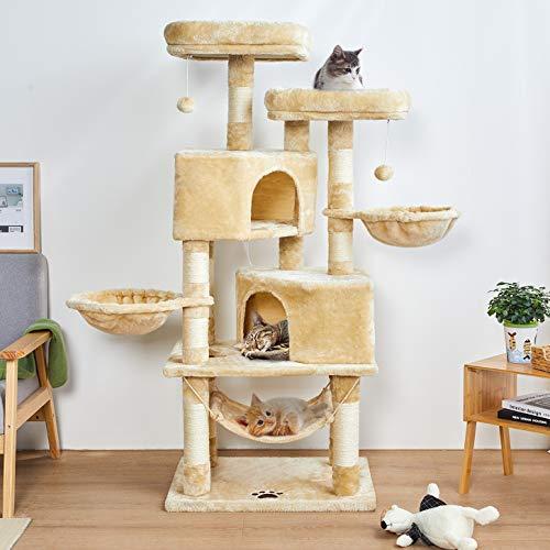 MSmask 145cm Kratzbaum Kletterbaum Stabil Mehrere Ebenen Plattform für Grosse Katzen mit groß Höhle, Sisal-Stämme, Natur Sisal Katzenkratzbaum (beige)