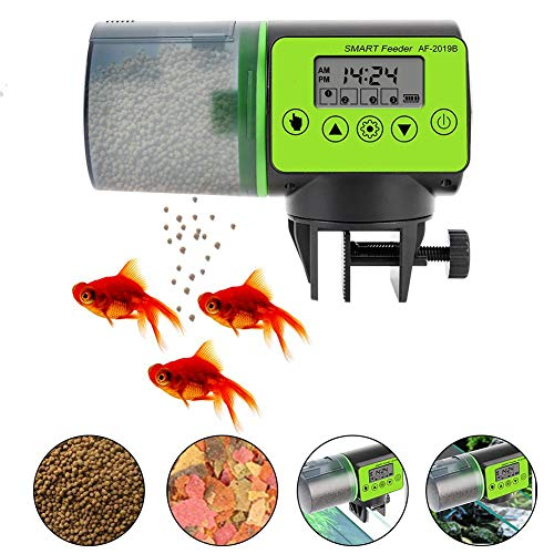 Destinely Automatisierte Futterspender Großes Fassungsvermögen Fische Aquarium Futterautomat Intelligent Timing Aquarium Fish Feeder Mit Großer LCD-Bildschirm Und Leises Design Aquarium-Futterautomat
