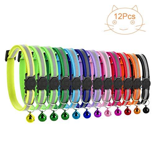 Petyoung 12 Stück Katzenhalsbänder mit Glocke, reflektierend fluoreszierend mit Schnellverschluss/Sicherheitsschnalle, Verstellbar 19–32 cm geeignet für die meisten Hauskatzen