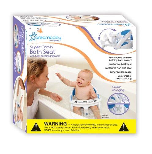 Dreambaby F661 Badesitz-Baby Sitzhilfe Badewannensitz Badesitz Babysitz, Premium blau gepolstert mit Temperatursensor