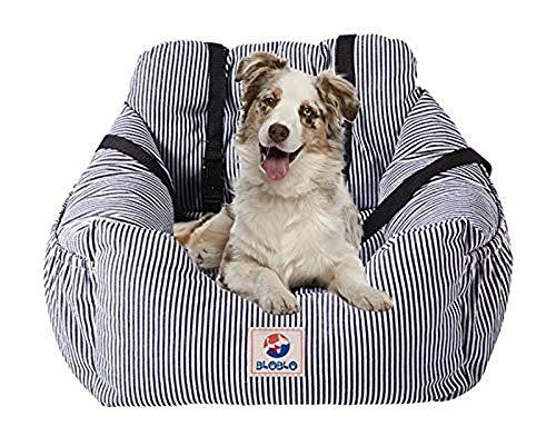 BLOBLO Sitzerhöhung für Hunde,für Kleine bis Mittelgroße Hunde mit Einem Gewicht unter 16kg,mit Seitentasche und Hundeleine, Abnehmbarer und Waschbarer Haustier-Sitzbezug,Hunde Auto Reisebett (Blau)