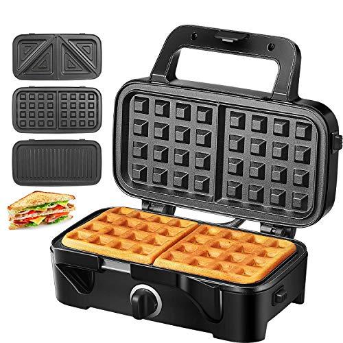 Sandwichmaker Waffeleisen Sandwichtoaster 1200W Temperaturregelung mit 3 Abnehmbare Platten für Toast Waffeln Fleisch, Antihaftbeschichtung mitLED-Anzeigeleuchten,CoolTouch-Griff, Schwarz, TIBEK