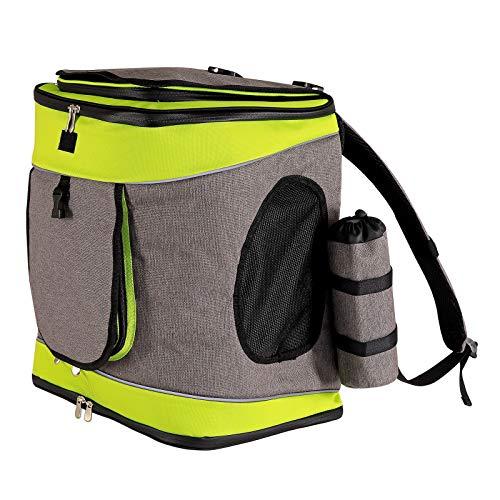 dibea Hunderucksack Hundetransporttasche Haustiertragetasche Farbe grau/grün