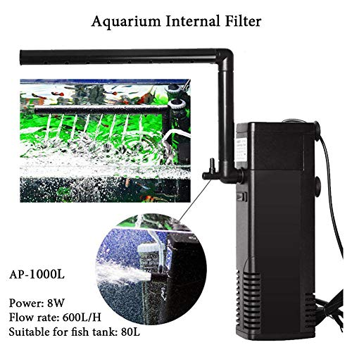 300-1000 L/H Aquarium-Innenfilter,Aquarium Internal Filter, Aquariumfilterset, Onderwaterfilter Voor Binnenshuis, Instelbaar Aquariumfilter Voor Aquarium Pompend Water, Zuurstof Sproeien
