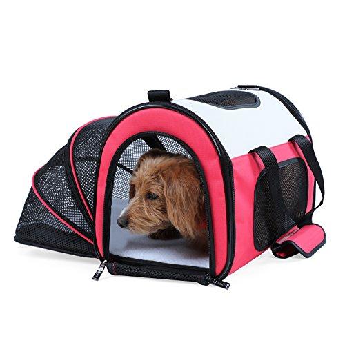 Petsfit Komfort erweiterbare Faltbare Haustiertragetasche für Hunde und Katzen, Farbe Rot, Weiche Seiten, 50cm x 29cm x31cm (Mittel)
