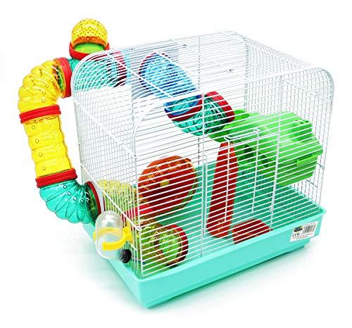 BPS BPS-1176 Käfig für Hamster, Größe XL, mit Futterwanne, Rad und Tunnel, besondere Farbe, zufällige Farbauswahl, 33 x 23,5 x 33 cm