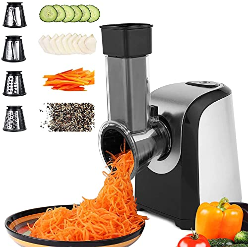 Automatisch Elektrisch Gemüsehobel Gemüseschneider, Elektrische Küchenreibe Reibe mit 5 Kegel-Klingen 150W Elektrischer Gemüsereibe Zerkleinerer Mit Ein-Knopf-Steuerung Geeignet für Obst Gemüse