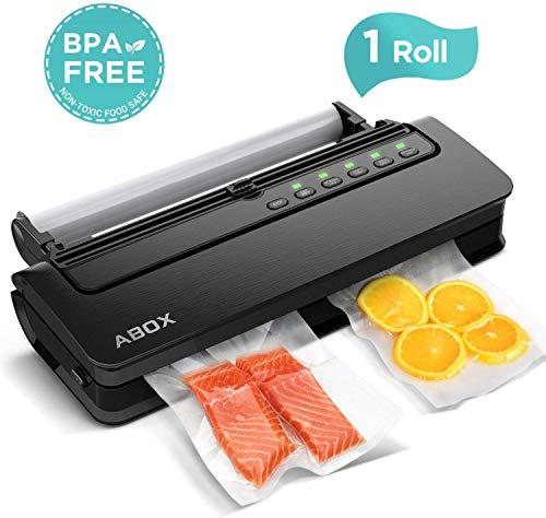 ABOX Vakuumiergerät 5 in 1 Vakuumierer Automatisch mit Cutter für trockene und feuchte Lebensmittel, inkl. Vakuumrollen und Vakuumschlauch, Schwarz