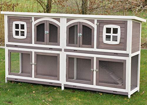 nanook Murmel XXL Doppel Kaninchenstall Hasenstall - doppelstöckig - wetterfest - 211 x 52 x 107 - Farbe: Taupe/Weiss - extra großes Kaninchengehege