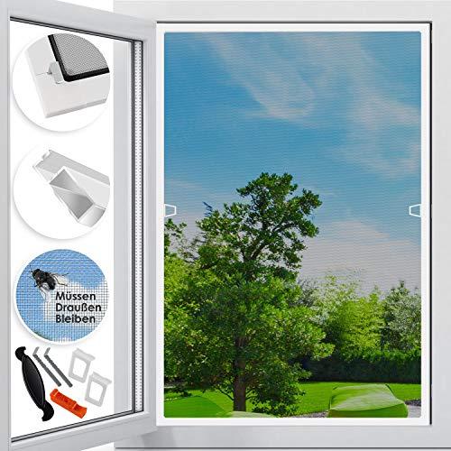 KESSER Fliegenschutzgitter für Fenster   100 x 120 cm   mit Aluminium Rahmen Fliegengitter Fliegenschutz Insektenschutz, mückengitter, moskitonetz, Spannrahmen, ohne Bohren und Schrauben Weiß