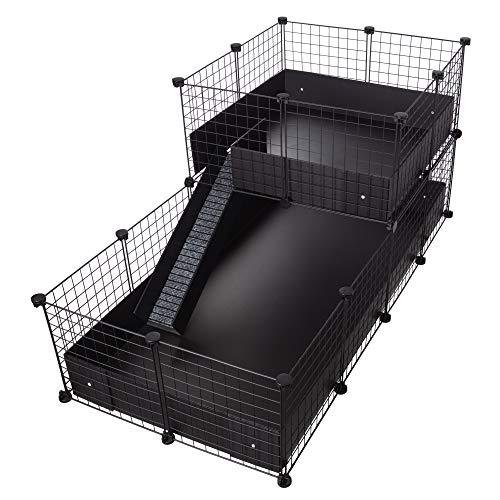 CagesCubes - Käfig CyC Deluxe (Base 2X4 + Loft 2x2 - schwarz) + Coroplast Basis in schwarz für Meerschweinchen