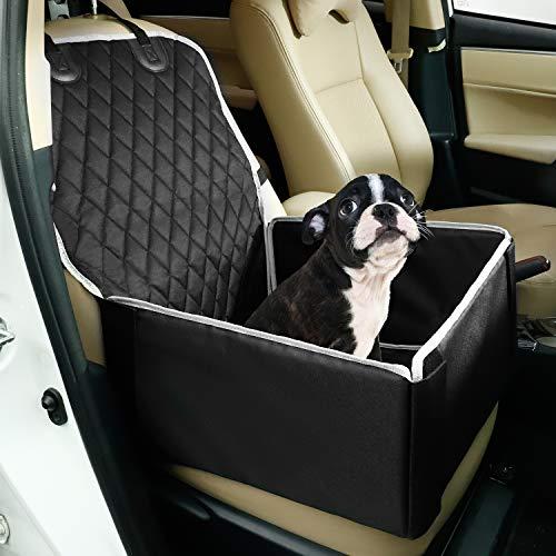 Toozey Hunde Autositz für Kleine und Mittlere Hunde - Extra Stabiler Hundesitz für Rückbank und Beifahrersitz - Verstärkte Wände, Wasserabweisend, Faltbar - 45 x 45 x 25 cm, Schwarz