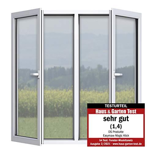 """EASYmaxx Fliegengitter für Fenster """"Magic Click""""   Zuschneidbar für alle Fenster bis 150 x 130 cm   Praktischer Magnetverschluss, einfache Klebemontage [transparent]"""
