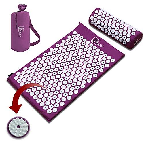 Akupressurmatte für Massage & Schmerzlinderung, Shakti Matte Set für Entspannung | Yantramatte, Stachelmatte für Meditation, Nadelmatte