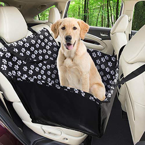 Wimypet Hunde Autositz Wasserdichte Haustier Autoschondecke mit Hund Sicherheitsgurt, Hundekorb für Rückbank Vordersitz Hund Sitzbezug Hundedecke Hunde Autoschondecke 68 x 57 x 33 CM