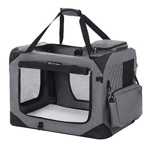 FEANDREA Hundebox, Transportbox für Haustiere, Hundetasche, grau PDC60GY