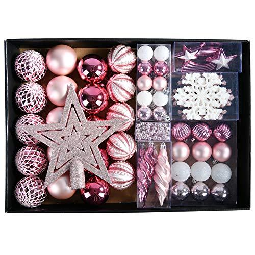 YILEEY Weihnachtskugeln Weihnachtsdeko Set Rosa 68 STK in 14 Farben, Kunststoff Weihnachtsbaumkugeln Box mit Aufhänger Christbaumkugeln Plastik Bruchsicher, Weihnachtsbaumschmuck, MEHRWEG