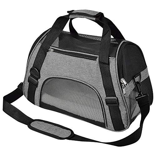 CUBY Katzentragetasche,Hundetasche,Transporttasche für Haustiere,Komfort für Flugreisen für kleine Tiere/Katzen/Kätzchen/Welpen (S grau)