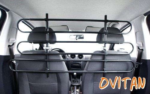 OVITAN® V06 Hundegitter zur Kopfstützenbefestigung Universal Trenngitter für Vordersitze 6 Streben Hundeschutzgitter Autogitter für alle Automarken